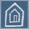 "melannen: The hobo sign for ""This House Is Bigger On the Inside,"" two nested houses drawn in chalk on blue. (hobo)"