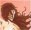 melannen: A warrior woman with wild brown hair against a pink sky (swordmaid)