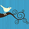 piranha: tiny white bird on brown curlicue branches, with cyan background (twitter)