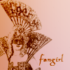 pensnest: Victorian woman with fan, caption Fangirl (Victorian fangirl)