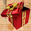 pensnest: Scarlet gift box with gold ribbon (Christmas box)