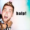 pensnest: Lance being dragged out of frame, caption Halp! (Lance halp!)