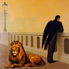 innocentsmith: a lion, a lamppost, and a winged man in a conservative coat stand on a bridge under an orange sky (calvin&hobbes: dick and jane)