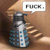 "kaberett: a dalek stands at the foot of a flight of stairs, thinking ""fuck."" (dalek)"