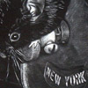 "idlerat: Black and white - shows a small rodent on an old style heavy-duty NYC door lock; ""New York"" is cast into the metal. (New York rat)"