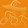 gnomad: Orange stick figures doing triathlon (Triathlon)