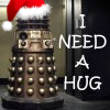 queenbarwench: Dalek wearing a santa hat; text reads 'I need a hug'. (seasons: santa dalek)
