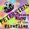 zarhooie: A tie-dye icon that says Peterstein: Disco King of the Fireflies with a little crown on it. (DW: Disco King of the Fireflies)