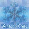 "ladyvyola: caption ""winter's child"" under a blue-toned snowflake on a quilted blue background (winter's child)"