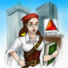 sorcyress: Drawing of me as a pirate, standing in front of the Boston Citgo sign (Boston Sorcy)