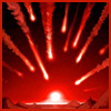 carrie: fiery meteors stream through a red sky at a target on the horizon (boom)