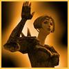 carrie: warrior in copper light, raising her hand.  (pickme)