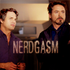 "sarcasticsra: Mark Ruffalo as Bruce Banner standing next to RDJ as Tony Stark with the text ""nerdgasm"". (avengers: bruce/tony nerdgasm)"