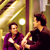 sarcasticsra: Mark Ruffalo as Bruce Banner, RDJ as Tony Stark, looking at each other. (avengers: bruce/tony)
