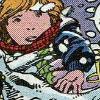 disintegrator: Katie pulling at a blanket in the snow (Katie | Responsible)