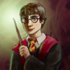 lizcommotion: Harry Potter in Gryffindor Robes holding a wand with a green glow (harry potter, gryffindor)