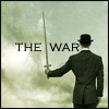 odditycollector: Man in bowler hat and suit holding a sword up, in front of him we see only clouds. Text: The War (Sword - by vagabond_sal)