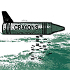 odditycollector: Giant crayon with a airplane tail fin flying over a landscape, dropping smaller crayons or bombs. Icon is calming green. (Crayon Bomb)