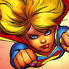 odditycollector: Supergirl flying at the viewer, hands in fists, expression determined. (Flying)
