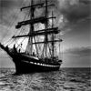 kate: Black and white tall ship (Tall Ship: black and white)
