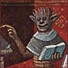 featherynscale: a monster holding an open book (book monster)