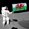 twincityhacker: an astronaut planting a Welsh flag on the Moon (Alternate History)