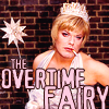 glinda: Eddie Izzard dressed as the Overtime Fairy (overtime fairy)