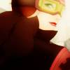 mix_it_up: Close-up of Asami with her goggles on, looking back over her shoulder as she drives away. ([driving] can't be afraid to mix it up)