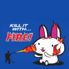 """muskruid: a giant bunny getting torched with the caption, """"kill it with fire"""" (kekeke)"""