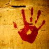 yetregressing: a bloody handprint on a wall (disclaimer: i am not a killer)