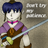 beccastareyes: Image of woman with sword in a guard position.  Text: Don't try my patience (trying patience)