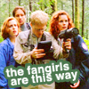 tree: group shot from 'detour'; text: the fangirls are this way ([xf] heat-seeking fangirls)