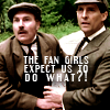 semielliptical: text: the fan girls expect us to do what?! holmes and watson (fangirls expect us to do what?)