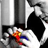 trascendenza: bobby in b&w examining rubik's cube in color. (iman bobby: rubik's cube)