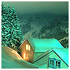 susanreads: snow-covered houses at night with lit window (snow (night))