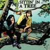 muccamukk: Laura and Jubilee sitting together on a tree branch. Text: Sittin' in a tree. (Marvel: Sittin' in a Tree)