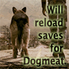 "green_dreams: Sepia-toned picture of a dog, with the caption ""Will reload saves for Dogmeat."" (wasteland hero, dog on fire, have a bad day, will reload for Dogmeat)"