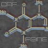 403: Caffiene molecule in yellow and blue. (Caffiene)