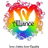 alee_grrl: White swan silhouette over stylized rainbow heart with Love Justice, Love Equality beneath (pride)
