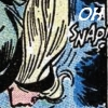 "carnivorousgiraffe: Gwen Stacey's neck-snapping panel with ""oh"" edited in above the ""snap!"" sound effect. (Ohsnap)"