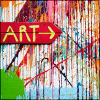 "sofiaviolet: sign reading ""ART"" on a paint-splattered wall (ART!)"