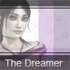 "autumnus: A purple monochrome portrait of Zoe from Dreamfall, with drawn stars in background and ""the Dreamer"" written on bottom. (Default)"