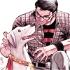 carnadosa: Kon petting Krypto in flannel with the Superboy t-shirt peeking out. (Krypto, Kon-El)