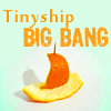"tinyshipbang: Orange peel shaped into a sailboat w/""Tinyship BIG BANG"" above (Tinyship Big Bang Orange)"