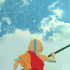 go_dog_go: Aang holding his staff, facing a broad blue sky (avatar: readiness)