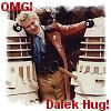 sddalek: colin baker with two imperial daleks and the text omg dalek hug (dalek hug)