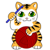 hooked_on_anime: Manekineko holding a crochet hook and a ball of yarn (Default)