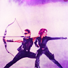 spatz: Clint with bow drawn, back to back with Natasha firing handgun (action BFFs)