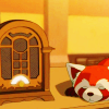 aberration: Pabu from LoK taking a nap next to an old-fashioned radio. (sparkling)