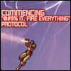 """sylvaine: comicsverse Ironman up in the sky with text """"commencing '@#$% it, fire everything' protocol"""" ([marvel:IM] fuck it all)"""